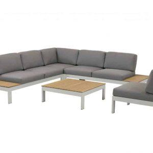 Mistral hoek loungeset 5-delig teak lichtgrijs