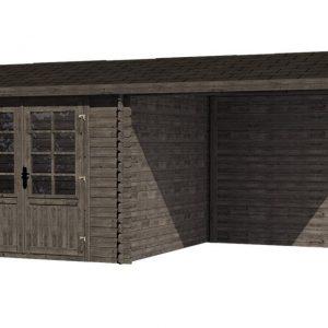 Tuinhuis/Blokhut Fonteyn Irma zadeldak Hogedruk geimpregneerd Grijs 580x290 cm