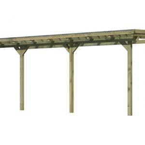 Tuinhuis Karibu Model 2 Maat C Hogedruk Geïmpregneerd (bestaat uit Model 2 A + 2 x verlengingspakket)