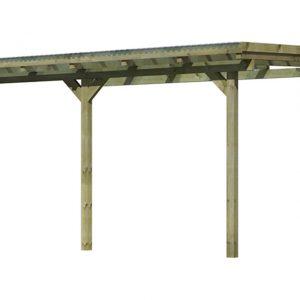 Tuinhuis Karibu Model 3 Maat B Hogedruk Geïmpregneerd (bestaat uit Model 3A + 1 x verlengingspakket)