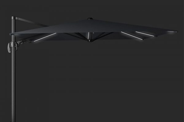 Zweefparasol 300 x 300 cm Solarflex T2 Glow Antraciet Platinum