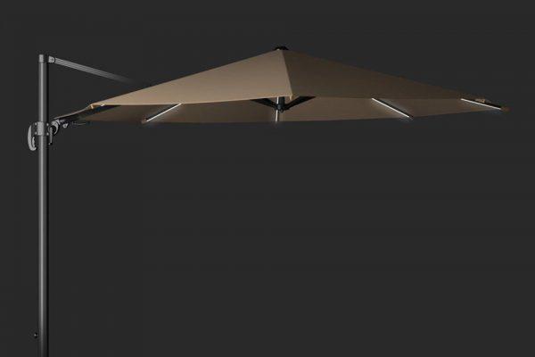 Zweefparasol Solarflex T2 Glow 350cm Taupe Platinum