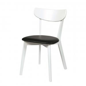 Nordiq Ami chair - Wit eiken - Zwart kussen - Retro design eetkamerstoel - whitewash