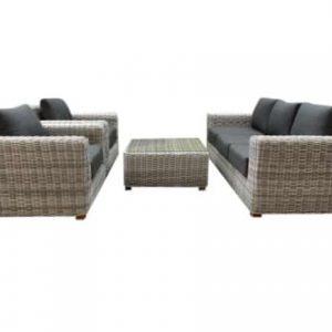 Ancona AVH stoel-bank loungeset 4-delig wit grijs