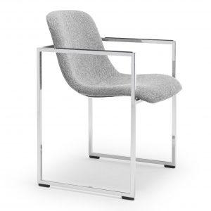 Arco Frame II stoel remix duo stoffering grijs parelchroom onderstel