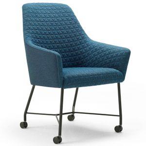 Arco Sketch Dining stoel centraal onderstel met wielen Febrik duo blauw