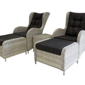 Arezza lounge balkonset 5-delig wit-grijs