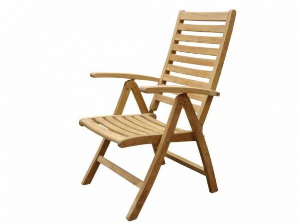 Arona Teakhouten 5 standenstoel zware uitvoering.