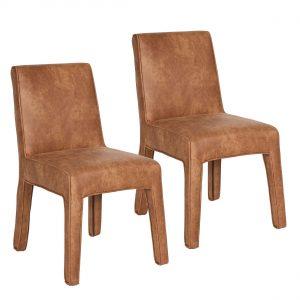 BePureHome Cocoon stoel cognac (set van 2)