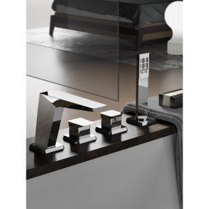 Hotbath Bro! 063 thermostatische badrandcombinatie met uitloop en 2-weg omstel geborsteld nikkel