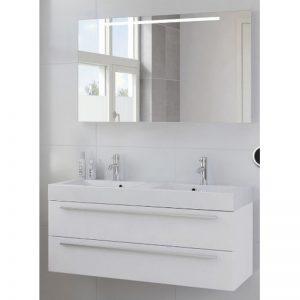Bruynzeel Bando meubelset 120 met spiegel en dubbele wastafel mat wit