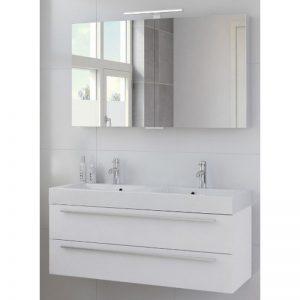 Bruynzeel Bando meubelset 120 met spiegelkast en dubbele wastafel mat wit