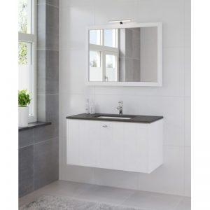 Bruynzeel Bino meubelset 100 cm. met spiegel-blad graniet-kom wit puur wit