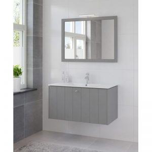 Bruynzeel Bino meubelset 100 cm. met spiegel en keram.wastafel puur grijs