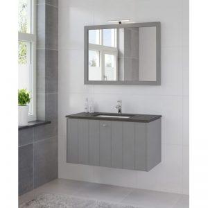 Bruynzeel Bino meubelset 100 m/spiegel-blad graniet wastafel wit puur grijs