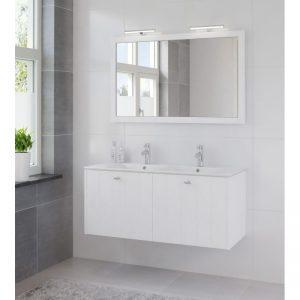 Bruynzeel Bino meubelset 120 cm. met spiegel en 2 wastafels wit puur wit