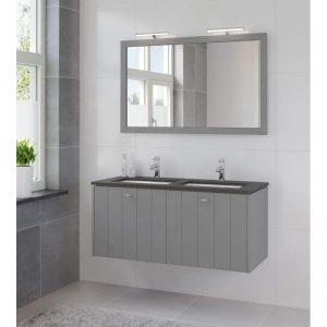 Bruynzeel Bino meubelset 120 spiegel-blad graniet-2xwastafel wit puur grijs