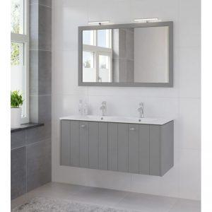 Bruynzeel Bino meubelset 120cm.met spiegel en dubb.keram.wastafel puur grijs