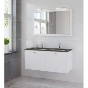 Bruynzeel Bino meubelset 121 m/spiegel-blad graniet-2xwastafel wi puur wit