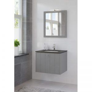 Bruynzeel Bino meubelset 70 cm.m/spiegel-blad graniet-kom wit puur grijs