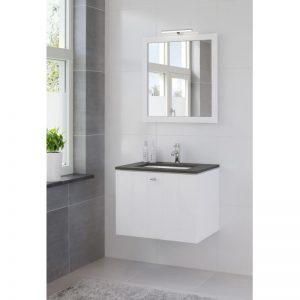 Bruynzeel Bino meubelset 70 cm.met spiegel-blad graniet-kom wit puur wit