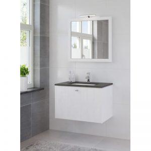 Bruynzeel Bino meubelset 80 cm.m/spiegel-blad graniet-kom wit puur wit