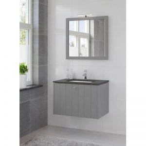 Bruynzeel Bino meubelset 80 cm.m/spiegel-blad graniet-kom wit puur grijs