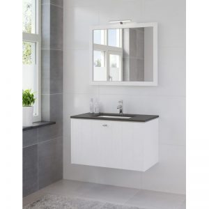 Bruynzeel Bino meubelset 90 cm.m/spiegel-blad graniet-kom wit puur wit