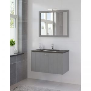 Bruynzeel Bino meubelset 90 cm.m/spiegel-blad graniet-kom wit puur grijs
