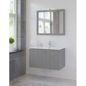Bruynzeel Bino meubelset 90 cm. met spiegel en keram.wastafel puur grijs