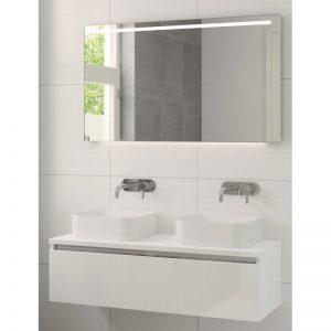 Bruynzeel Faro meubelset 120 cm. met spiegel met 2 wastafels wit glanzend