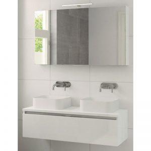 Bruynzeel Faro meubelset 120 cm. met spiegelkast met 2 wastafels wit glanzend
