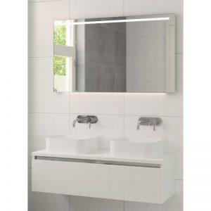 Bruynzeel Faro meubelset 120cm. met spiegel met 2 wastafels mat wit