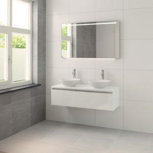 Bruynzeel Giro meubelset 120 cm. met spiegel met 2 wastafels mat wit