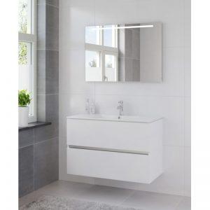 Bruynzeel Miko meubelset 101 cm. met spiegel en tl verlichting mat wit
