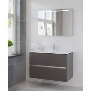 Bruynzeel Miko meubelset 101 cm. met spiegel en tl verlichting grafiet