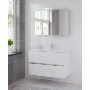 Bruynzeel Miko meubelset 101cm.met spiegelkast en led verlichting mat wit