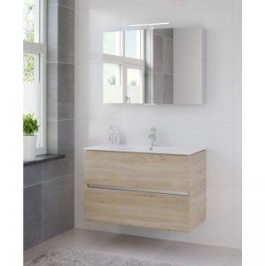 Bruynzeel Miko meubelset 101cm.met spiegelkast en led verlichting bardolino