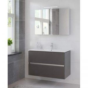 Bruynzeel Miko meubelset 101cm.met spiegelkast en led verlichting grafiet