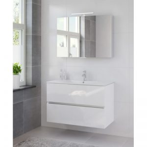 Bruynzeel Miko meubelset 101cm.met spiegelkast en led verlichting hoogglans wit