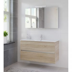 Bruynzeel Miko meubelset 120 cm. met spiegelkast en wastafel wit bardolino