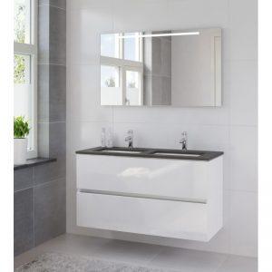 Bruynzeel Miko meubelset 120cm.spiegel-blad graniet-dubb.wast.wit wit glanzend