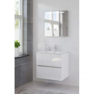 Bruynzeel Miko meubelset 70 cm. met spiegel en wastafel wit wit glanzend