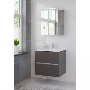 Bruynzeel Miko meubelset 70 cm. met spiegelkast en wastafel wit grafiet