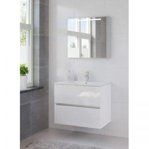 Bruynzeel Miko meubelset 81 cm. met spiegel en tl verlichting hoogglans wit