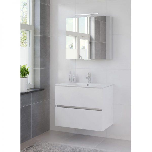 Bruynzeel Miko meubelset 81 cm.met spiegelkast en led verlichting mat wit