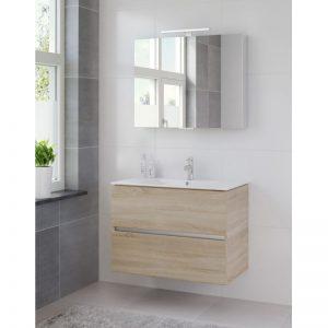 Bruynzeel Miko meubelset 81 cm.met spiegelkast en led verlichting bardolino