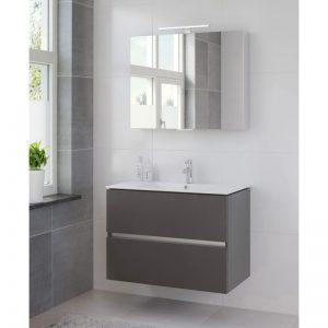 Bruynzeel Miko meubelset 81 cm.met spiegelkast en led verlichting grafiet