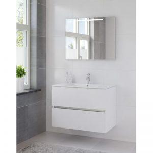 Bruynzeel Miko meubelset 91 cm. met spiegel en tl verlichting mat wit