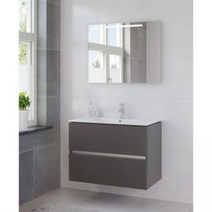 Bruynzeel Miko meubelset 91 cm. met spiegel en tl verlichting grafiet